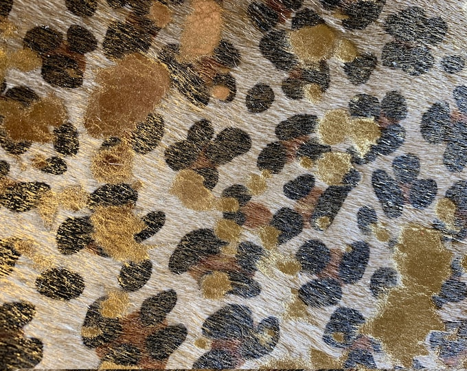 Hair On Leather 3 or 4 sq ft ACID Wash LEOPARD Camel Black Brown w/GOLD Metallic (backside not pretty!) Hoh Cowhide 4.5-5oz/1.8-2mm E2852-19