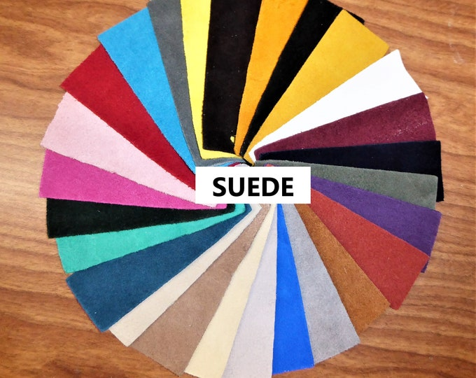 "Suede Leather 12""x20"" or 10""x24"" or 15""x15"" 26 COLORS to choose from Various thicknesses Cowhide PeggySueAlso™ Full hides available"