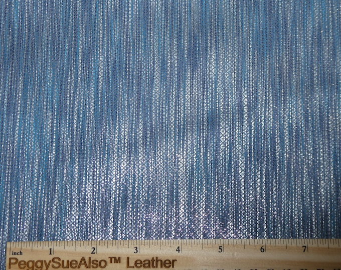 "ReStocked Leather 12""x12"" DENIM and SILVER GLISTENING Stripes Cowhide 2.5-2.75 oz / 1-1.1 mm PeggySueAlso™ E1097-01"