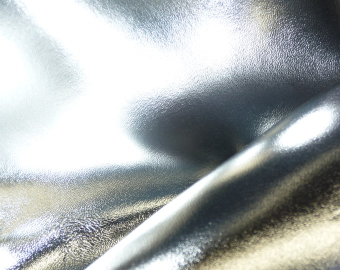 "Metallic Leather 8""x10"" Smooth SILVER Foil Cowhide 3oz /1.2 mm PeggySueAlso™ E2845-16 hides available"