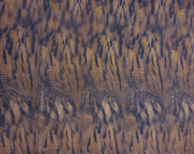 """Leather RESTOCKED 8""""x10"""" MATTE OWL Feathers on Camel Cowhide #357 2.5-3 oz / 1-1.2 mm PeggySueAlso™ E5360-01"""