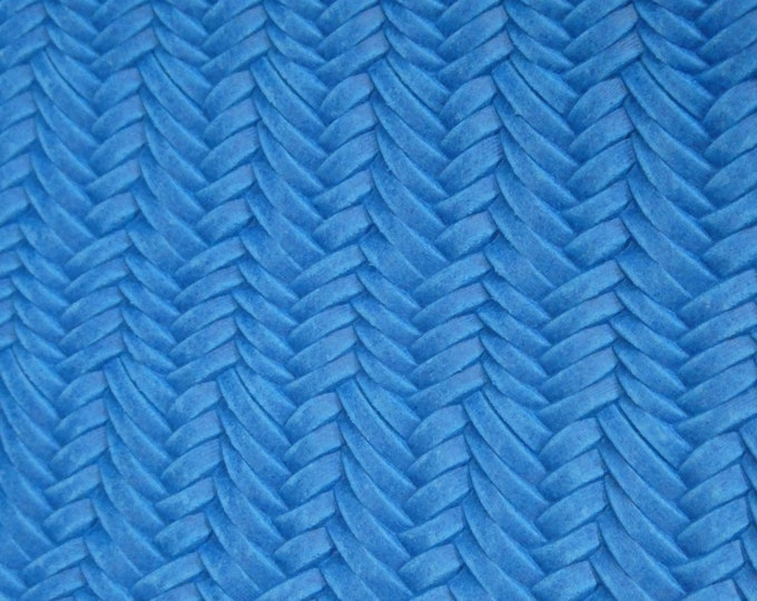 "Leather 5""x11"" Braided ITALIAN Fishtail TRUE BLUE Cowhide 2.5 oz / 1 mm #100 PeggySueAlso™ E3160-03 Limited"