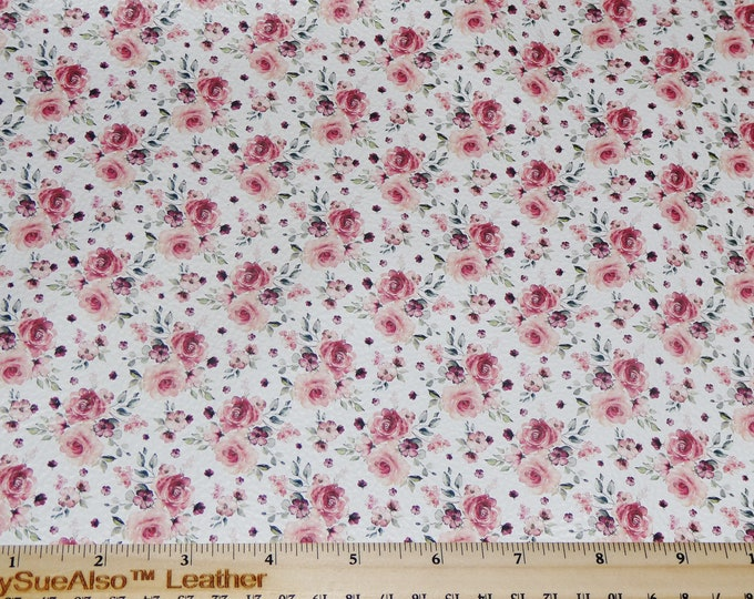 "NeW 8""x10"" MAUVE & Pink Spring Flowers on WHITE Cowhide Leather (Not Cork!) 3.25-3.5oz/1.3-1.5mm PeggySueAlso™ E1671-01"