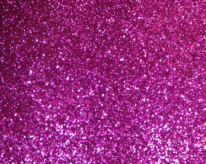 """2 pieces 4""""x6"""" FUCHSIA Dark Pink Chunky GLITTER Fabric applied to Leather for firmness Very THICK 6-7oz / 2.4-2.8mm PeggySueAlso™ E4355-11"""