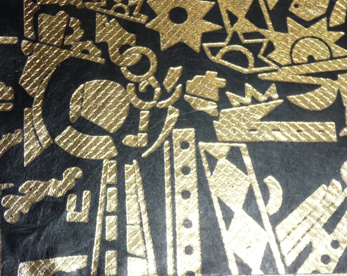 """Leather  8""""x10"""" Slightly FLAWED Metallic Gold ANACONDA Embossed TOOLS pattern on Black Cowhide 1.5-2oz / .6-.8mm PeggySueAlso"""