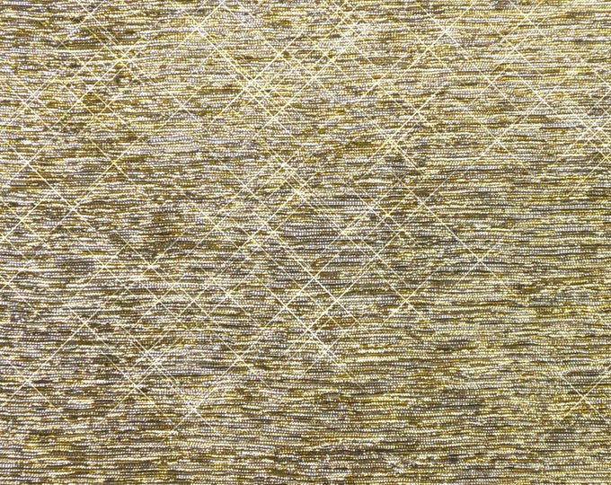 3 or more sq ft Silver Gold Blended GLITTER METALLIC FABRIC applied to Leather Cowhide for firmness 3.5-4oz/1.4-1.6mm PeggySueAlso™ E4350-02