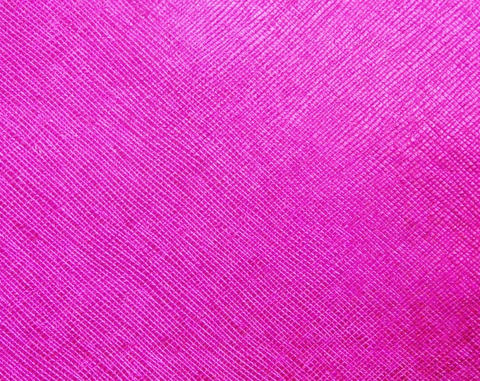 "Metallic Leather 8""x10"" Saffiano HOT PINK / Light Fuchsia Metallic Weave Embossed Cowhide USA 2.75-3oz/1.1-1.2mm PeggySueAlso™ E8201-24"