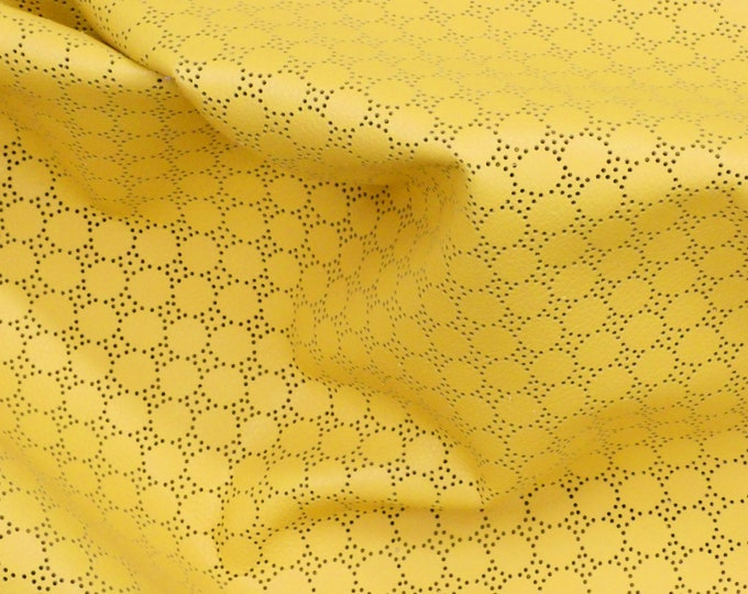 "Leather CLOSEOUT 5""x11"" Swiss Dot Perforated LEMON YELLOW Cowhide 2-2.5 oz / 0.8-1 mm #721  PeggySueAlso™ E7100-06"