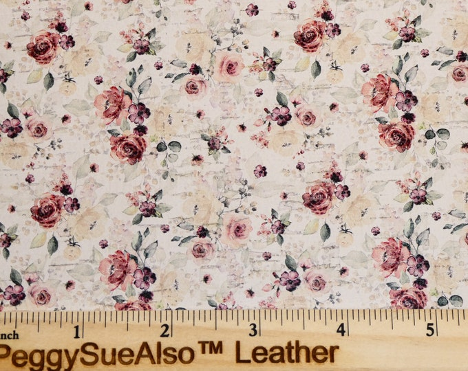 """CORK 8""""x10"""" NeW Improved Print MAUVE Spring Flowers on WHITE  on CoRK applied to Leather for body/strength Thick 5oz/2mm E5610-149"""