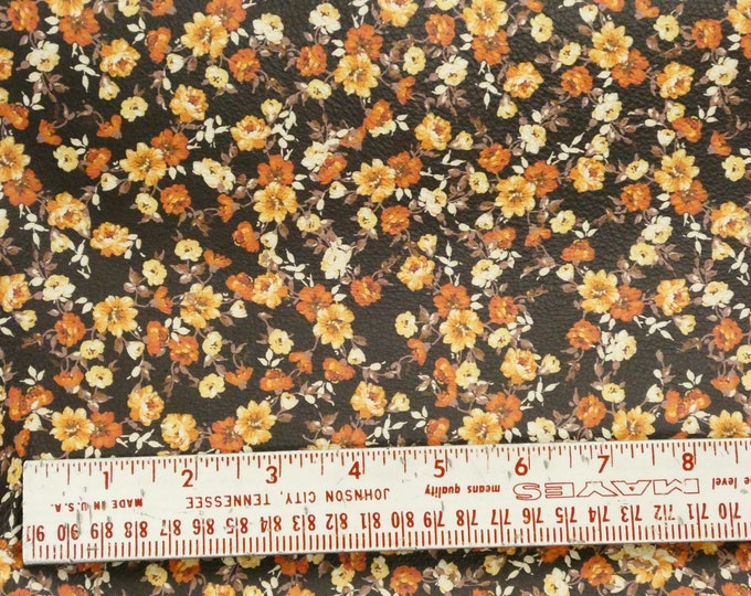 """Leather 12""""x12"""" Orange Array of Tiny Flowers on Dark Brown Cowhide 2.75-3 oz/1.1-1.2mm PeggySueAlso™ E4600-03 hides available"""