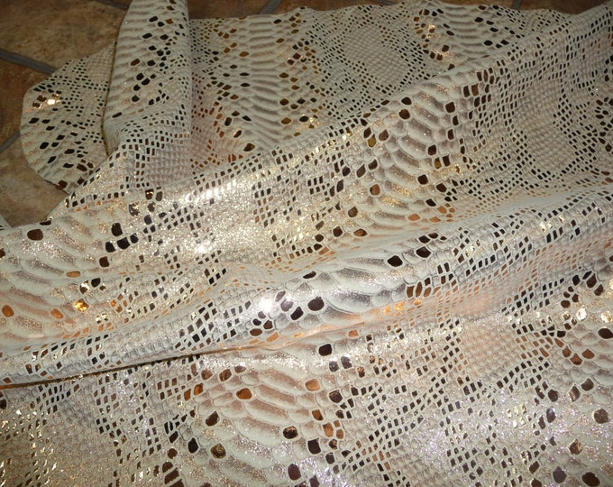 "Metallic Leather 12""x20"" 10""x24"" 15""x15"" Mystic Python ROSE GOLD on BEIGE Cowhide 2.5oz /1 mm #269 PeggySueAlso™ E2868-09 hides available"