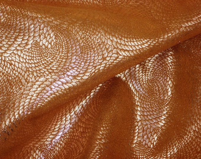 Metallic Leather 3+ sq ft  Chinese Dragon ROSE Gold On TOAST Cowhide 3-3.5 oz / 1.2-1.4 mm PeggySueAlso™ E1420-21 Full hides available
