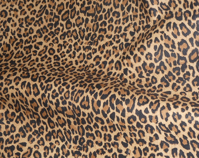 "Leather 12""x12"" Original Mini TAWNY Tan Cheetah / Leopard Print Grain Leather Cowhide 2.5oz/1mm PeggySueAlso™ E6730-01 Hides Available"