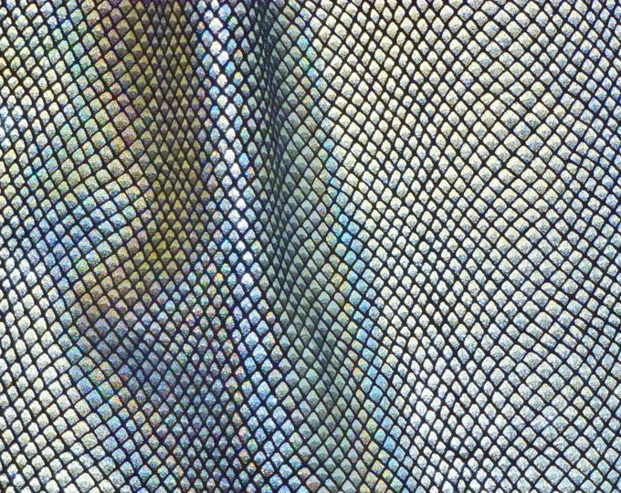 """Metallic Leather CL0SEOUT 12""""x12"""" FISH SCALES Silver HALO Iridescent on Black Calfskin 2.5-3oz / 1-1.2mm #100 PeggySueAlso™ E3400-05"""