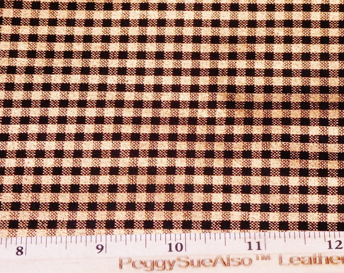 """NeW Leather 12""""x12"""" ITTY BITTY Metallic Buffalo Plaid (1/8"""" squares) ROSE Gold on Black Suede Cowhide 3.5oz/1.4mm PeggySueAlso™ E6529-10"""