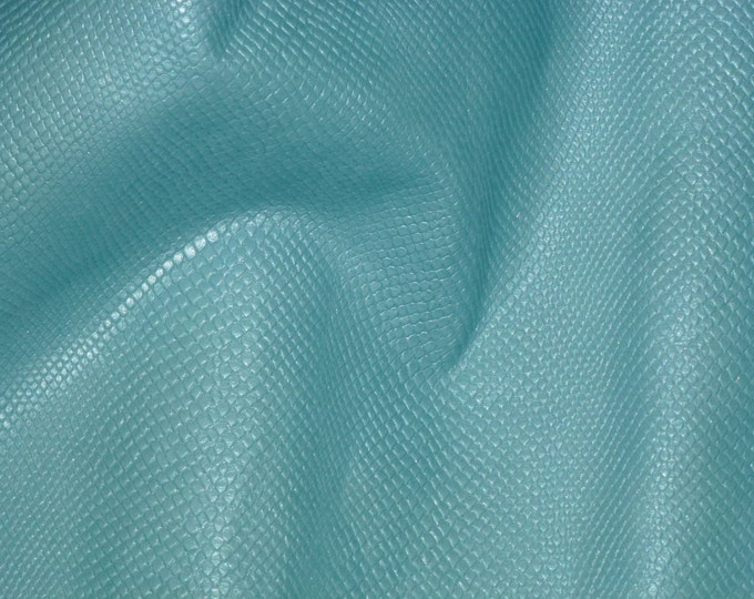 """Leather CLOSEOUT 5""""x11"""" Amazon Cobra  Pearlized ICE PRINCESS Blue Green Cowhide #485 2.5oz/1 mm PeggySueAlso™ E2972-02"""