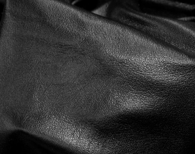 Leather 3 - 6 sq ft  Shiny Black Cowhide Tanned to Resemble GOATSKIN Leather 2 oz/0.8 mm PeggySueAlso™ E2655-01