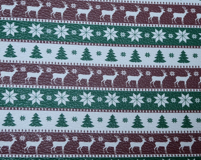 """Leather 12""""X12"""" Kelly GREEN White and Cranberry Christmas SWEATER Cowhide 2.75-3 oz/1.1-1.2 mm PeggySueAlso™ E1382-14"""