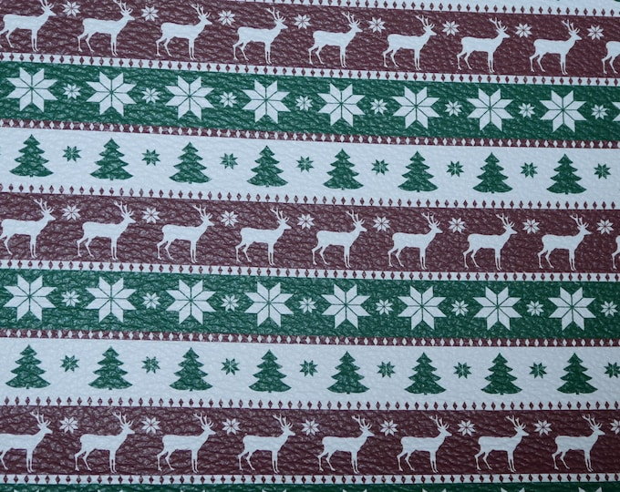 "Leather 12""x12"" Kelly GREEN White and Cranberry Christmas Ugly SWEATER Cowhide 2.75-3 oz/1.1-1.2 mm PeggySueAlso™ E1382-14"