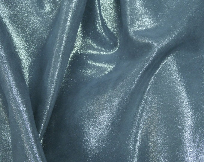 "Metallic Leather 8""x10"" Dazzle Silver on DENIM BLUE Cowhide 2.5 oz / 1 mm PeggySueAlso™ E8300-10 hides available"