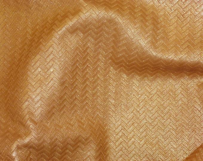 "Leather 8""x10"" Golden TOPAZ Shimmer ZIG ZAG Soft Cowhide 2.5-3 oz/ 1-1.2 mm PeggySueAlso™ E1120-02"