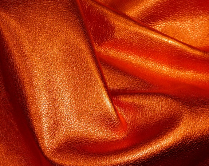 "8""x10"" New Version LOBSTER ORANGE, SHINIER Pebbled Metallic Soft cowhide shows the grain Leather 3-3.25oz/1.2-1.3mm PeggySueAlso™ E4100-18B"
