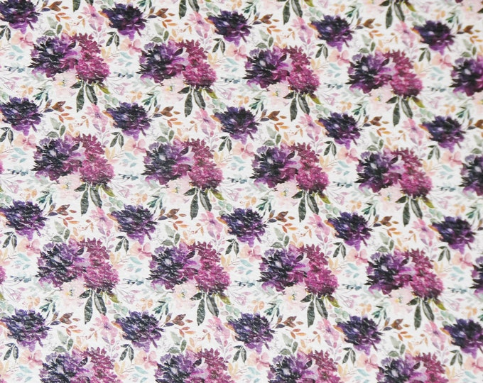 NeW Leather Version 3-4-5 or 6 sq ft  PURPLE PLUM BOUQUET on White on Cowhide 3.25-3.5oz/1.3-1.5mm PeggySueAlso™ E1671-02
