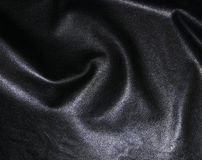 "Leather 8""x10"" Shiny Black Cowhide Tanned to Resemble GOATSKIN Leather 2 oz/0.8 mm PeggySueAlso™ E2655-01"