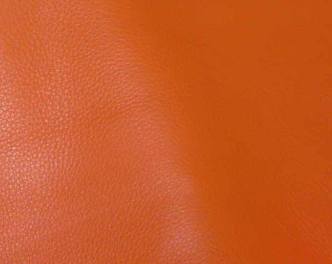 "Leather 8""x10"" KING Persimmon / Carrot Orange Full Grain Cowhide 3-3.5 oz/1.2-1.4mm PeggySueAlso™ E2881-18 Full hides available"
