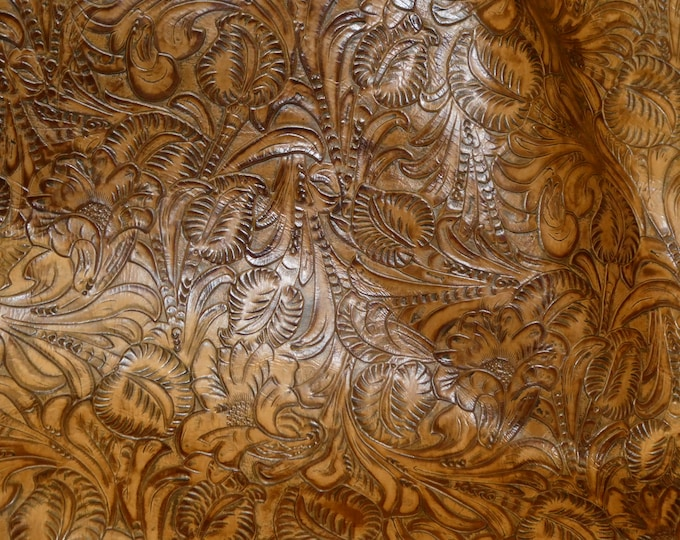 """Leather 8""""x10"""" Western Tool Embossed CARAMEL Cowhide (READ description re: Backside) 3-3.25oz/1.2-1.3mm PeggySueAlso™ E3838-07 hides too"""