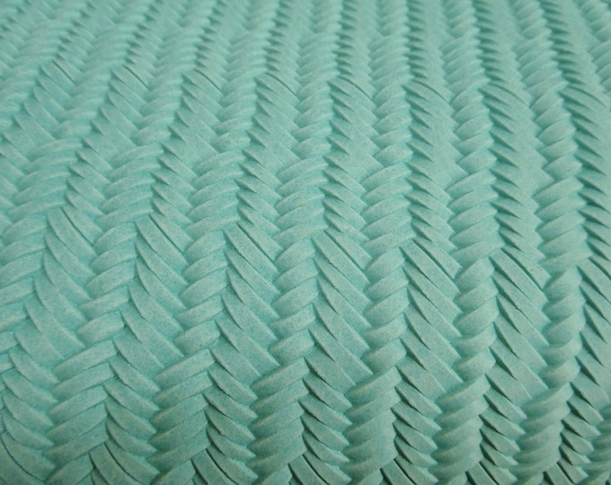 Leather 3 or 4 or 5 or 6 sq ft Braided ITALIAN Fishtail ROBIN EGG Cowhide 2.5-3 oz/1-1.2mm PeggySueAlso™ E3160-05 Hides available