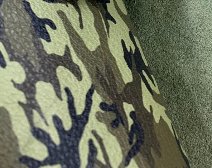 "New Dye Lot Leather 8""x10"" FERN Green MINI Camo Khaki Black Olive Grain Cowhide 2.5-3 oz / 1-1.2 mm PeggySueAlso™ E2176-13"