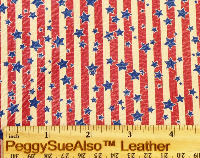 """Leather 8""""x10"""" VINTAGE AMERICAN STARS and STRiPES White (Large Stars 5/16"""")cowhide 3-3.5 oz / 1.2-1.4 mm PeggySueAlso™ E2752-06"""