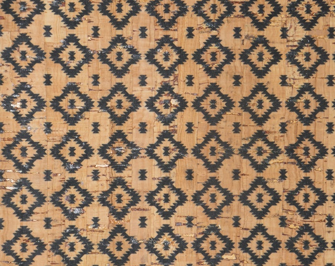 """NeW Cork 8""""x10"""" PETITE Diamond AZTEC (11/16"""") on NATURAL Cork applied to Cowhide for body/strength Thick 5oz/2mm PeggySueAlso™ E5610-145"""