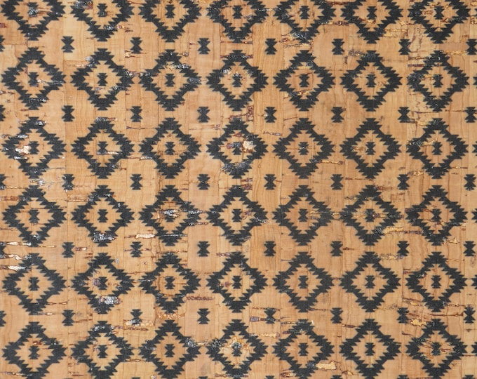 """NeW Cork 12""""x12"""" PETITE Diamond AZTEC (11/16"""") on NATURAL Cork applied to Cowhide for body/strength Thick 5oz/2mm PeggySueAlso™ E5610-145"""