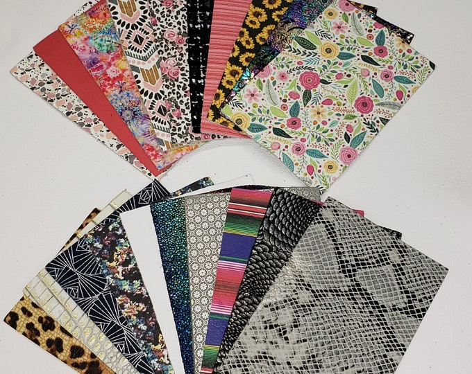 """Leather MYSTERY / SAMPLE / STARTER / Variety Pack 20 Pieces 4""""x6"""" Assorted Colors Patterns / thicknesses PeggySueAlso™"""