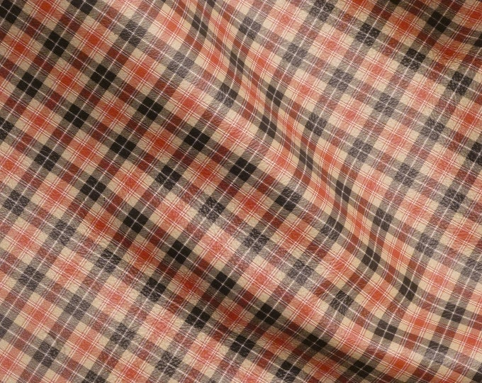 "Leather 8""x10"" Tartan Plaid Print TAN Lumberjack Flannel Cowhide 3-3.5 oz / 1.2-1.4 mm PeggySueAlso™ E2178-06 Hides Available"