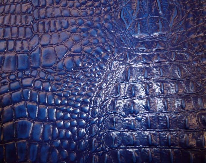 RESTOCKED Leather 3 - 6 sq ft ALLIGATOR Navy / Dark Royal Blue Crocodile croc gator Embossed Cowhide PeggySueAlso™ E2860-13 original pattern
