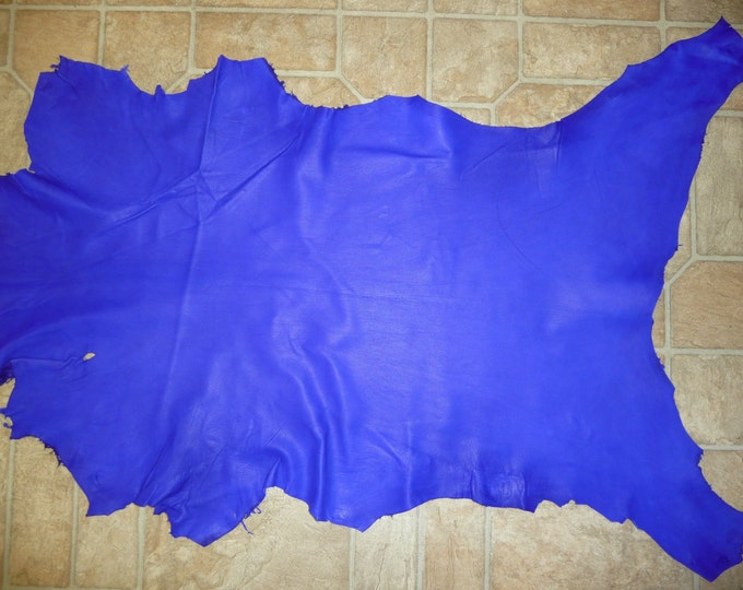 Leather 5 - 6 sq ft ELECTRIC Royal Blue Cationic Finished Goatskin (NOT this hide, a similar one) 2.25 oz/.9mm PeggySueAlso™ E2787-12