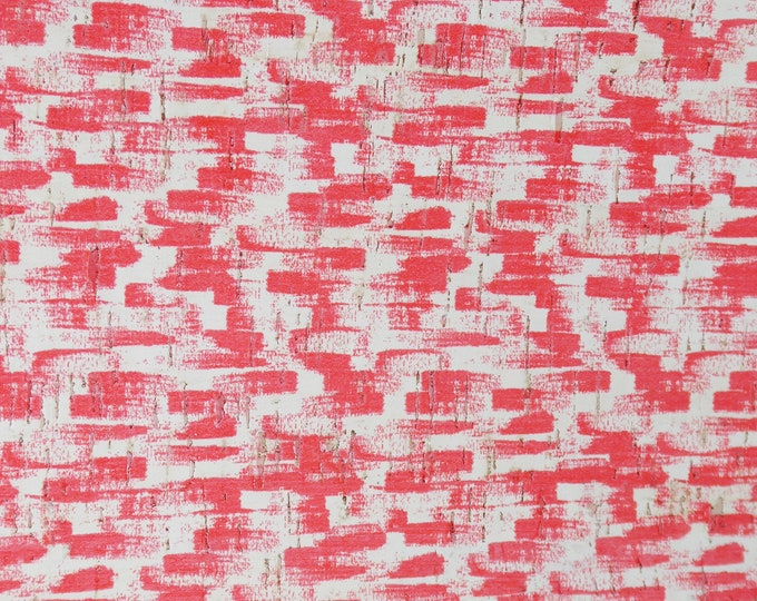 """Cork 5""""x11"""" RED Paint Brush Strokes on white CORK applied to Genuine Leather for body /strength Thick 5oz/2mm PeggySueAlso E5610-99"""