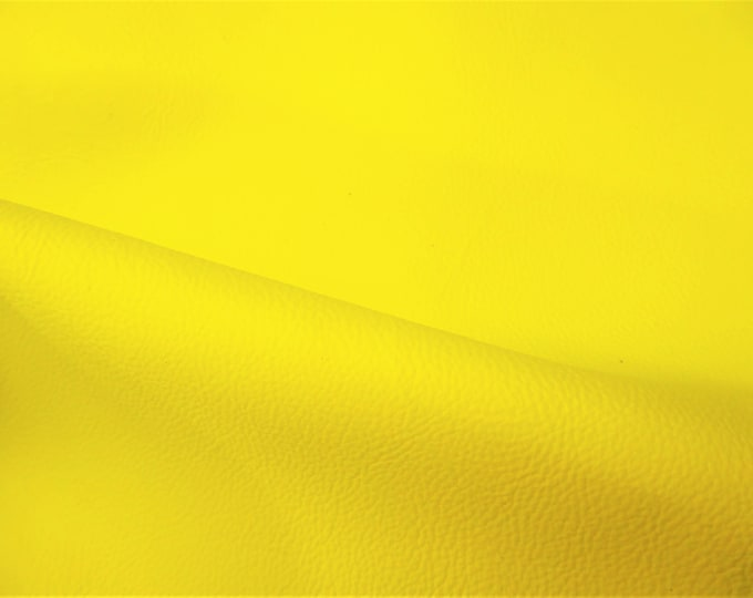 "NEON Leather 12""x12"" PEBBLED Yellow Neon Soft Cowhide shows the grain 2.75-3 oz / 1.1-1.2 mm PeggySueAlso™ E2530-03B (more on order)"