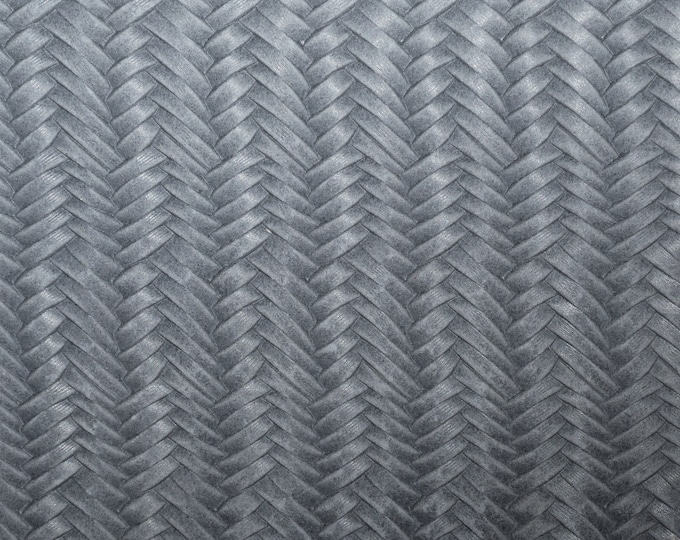 "Leather 12""x12"" Braided ITALIAN Fishtail ASH GRAY Cowhide 2.5-3 oz / 1-1.2 mm PeggySueAlso™ E3160-11 Hides available"