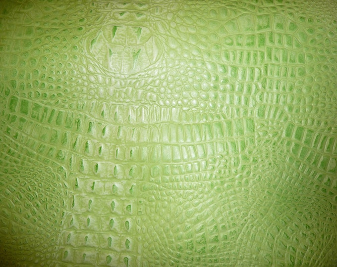 "Leather 20""x20"" Alligator SOUR APPLE Green embossed Cowhide 2 oz / .8 mm thickness PeggySueAlso™ E2860-03"