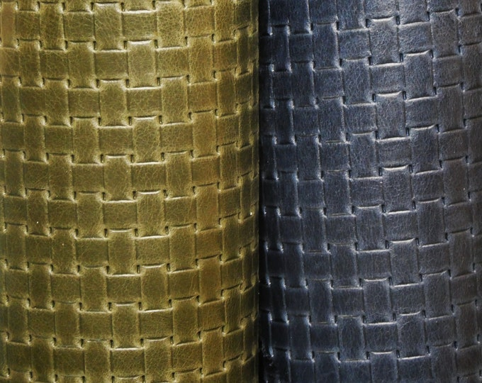 """Leather 8""""x10"""" WICKER WEAVE Embossed on our Riviera collection Cowhide 2.5-2.75 oz/ 1-1.1 mm PeggySueAlso™ E8050 limited"""