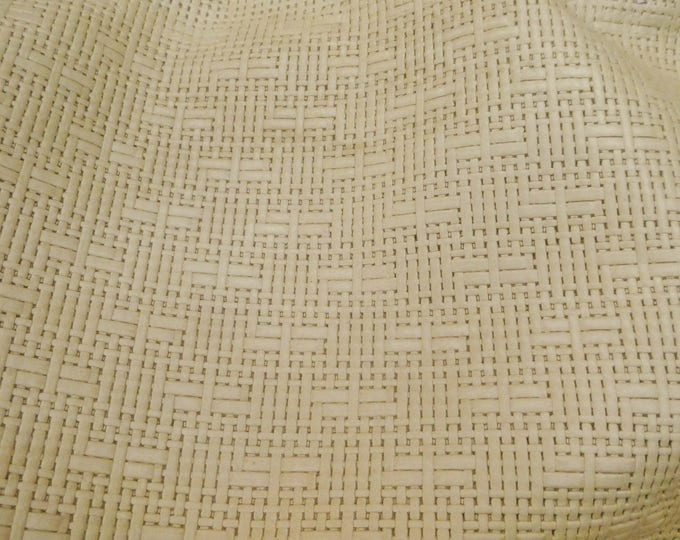 """Leather 5""""x11"""" Panama BEIGE Basket Weave Embossed Cowhide 2-2.5 oz/ 0.8-1 mm PeggySueAlso™ E8000-11 full hides too"""