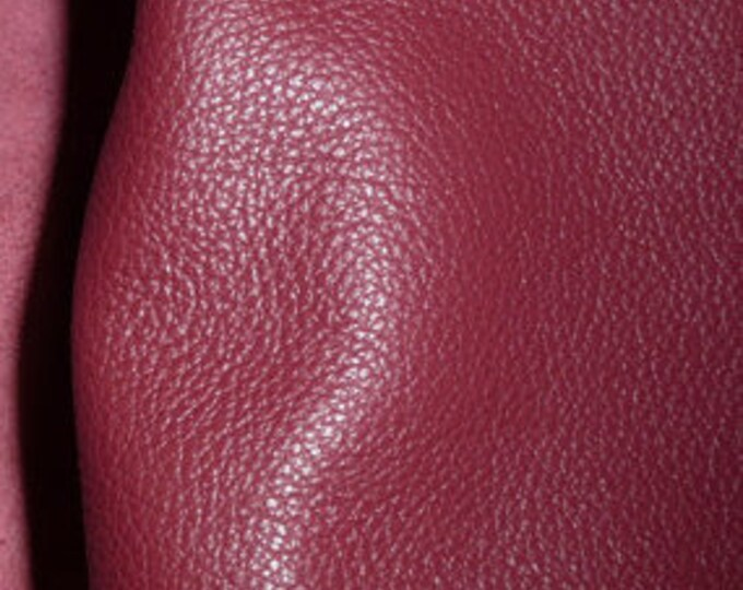 """Leather 20""""x20"""" Divine CRANBERRY Top Grain Cowhide (SHlPS ROLLED) 2.5 oz/1 mm PeggySueAlso™ E2885-35 Full hides available"""