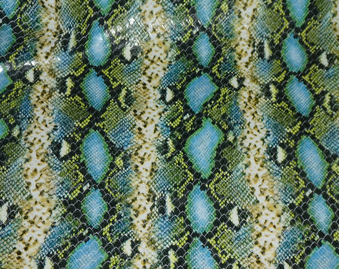 Leather 3-4-5 or 6 sq ft Colorful BLUE / GREEN CUT Cobra Cowhide 3.5-3.75 oz / 1.4-1.5 mm PeggySueAlso™ E1126-01 hides available