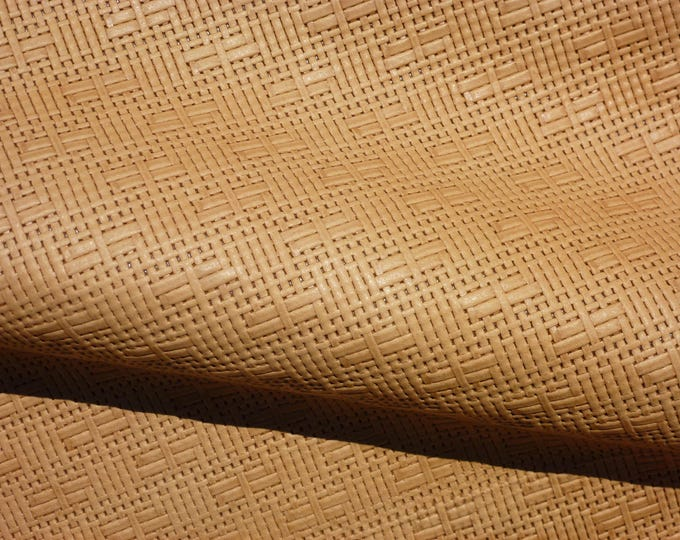 "Leather 12""x20"" or 10""x24"" or? Panama Natural HONEY Basket Weave Embossed Cowhide 2-2.5oz/.8-1mm PeggySueAlso™ E8000-08 Full hides available"