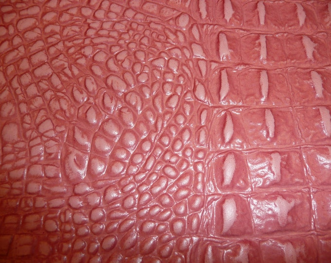 "Leather 12""x20"" or 10""x24"" Alligator Fresh SALMON Pink Embossed Gator Cowhide 2.5-2.75 oz/1-1.1 mm PeggySueAlso™ E2860-20"