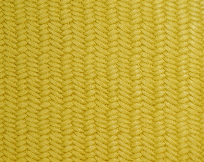 """Leather 12""""x12"""" Braided Fishtail MAIZE Yellow Cowhide 3 oz/1.2 mm PeggySueAlso™ E3160-47 Hides Available"""